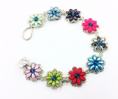 Daisy SuperDuo Bracelet Kit with SWAROVSKI Multi and Silver - Beginner